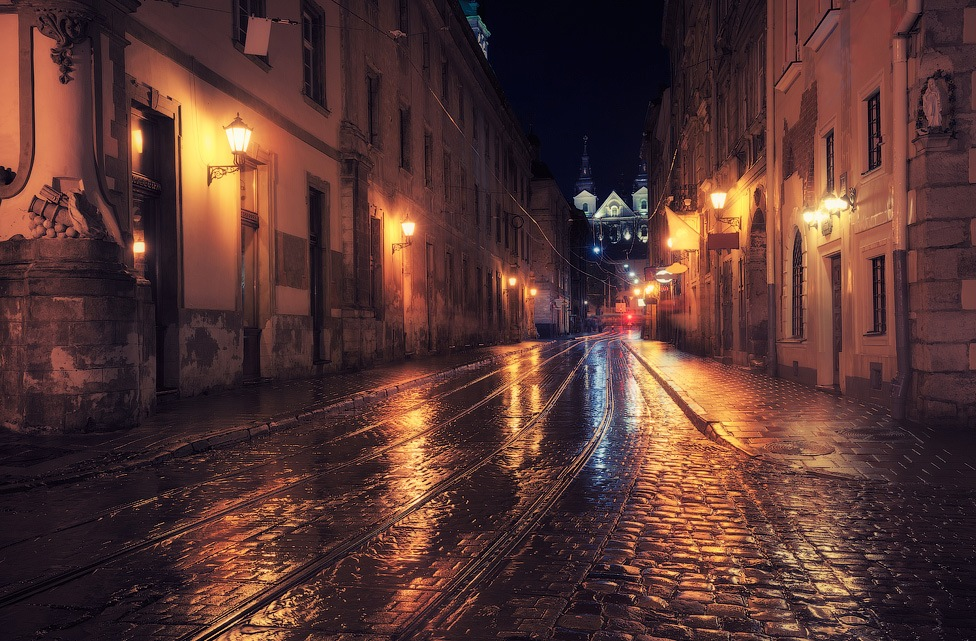 Old European city at night